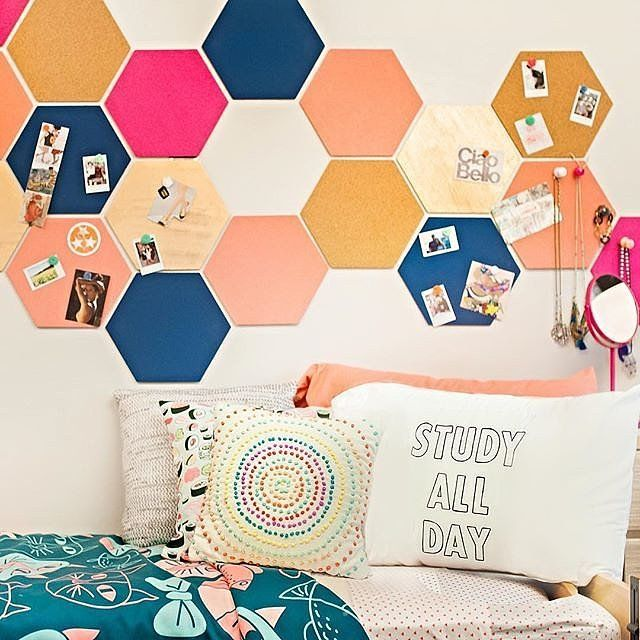 Could do this above the bed with neutral scrapbook paper?