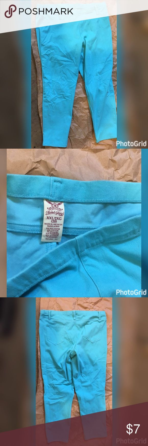 Faded glory bright blue jeggings size 20/ XXL Worn few times purchased from walmart stretchy real back pockets Faded Glory Pants
