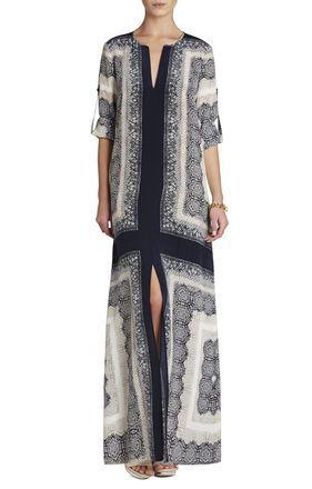 Olivia Scarf-Printed Caftan Dress | BCBG