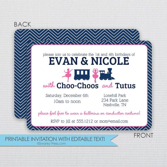 Invitation ChooChoo Train and Ballerina Tutu Double Twin Birthday- Instant Download & Editable File - Personalize at home with Adobe Reader