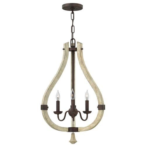 Fredrick Ramond FR40573 3 Light Candle Style Pendant from the Middlefield Collection, Iron Rust (Wood)