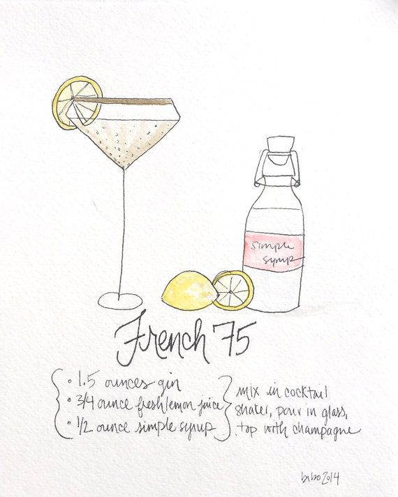 French 75 recipe art print