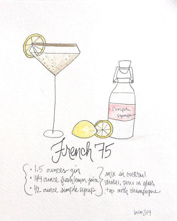French 75 recipe art print
