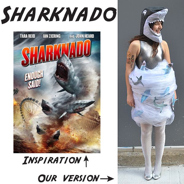 Sharknado costume.  Someone needs to make a Sharktopus costume, haha