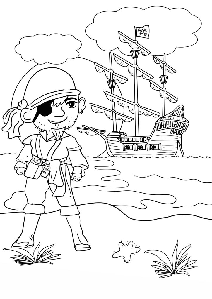 pirate colouring pages for kids in the playroom - Pirate Coloring Pages