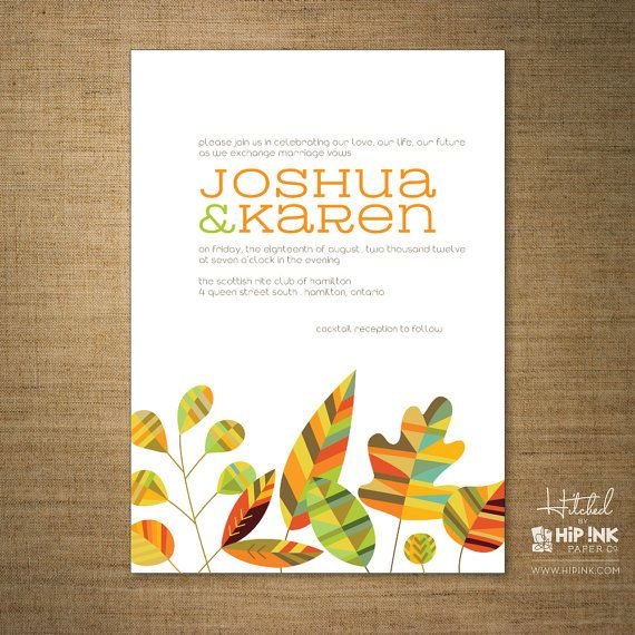 LEAVES  Modern Colorful Fall Leaves Wedding by HipInkPaperCo, $125.00 - Luv luv luv. She makes the best stationery ev.er.