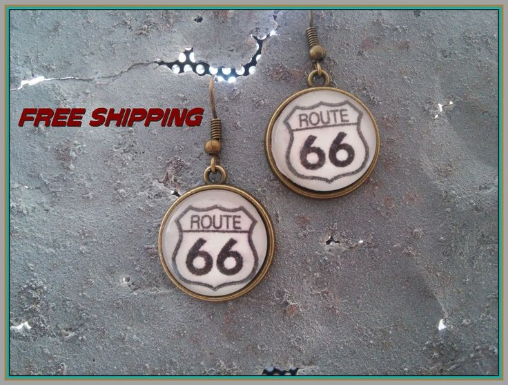 southwest route 66 earrings antique brass by DesertInspirations on Etsy