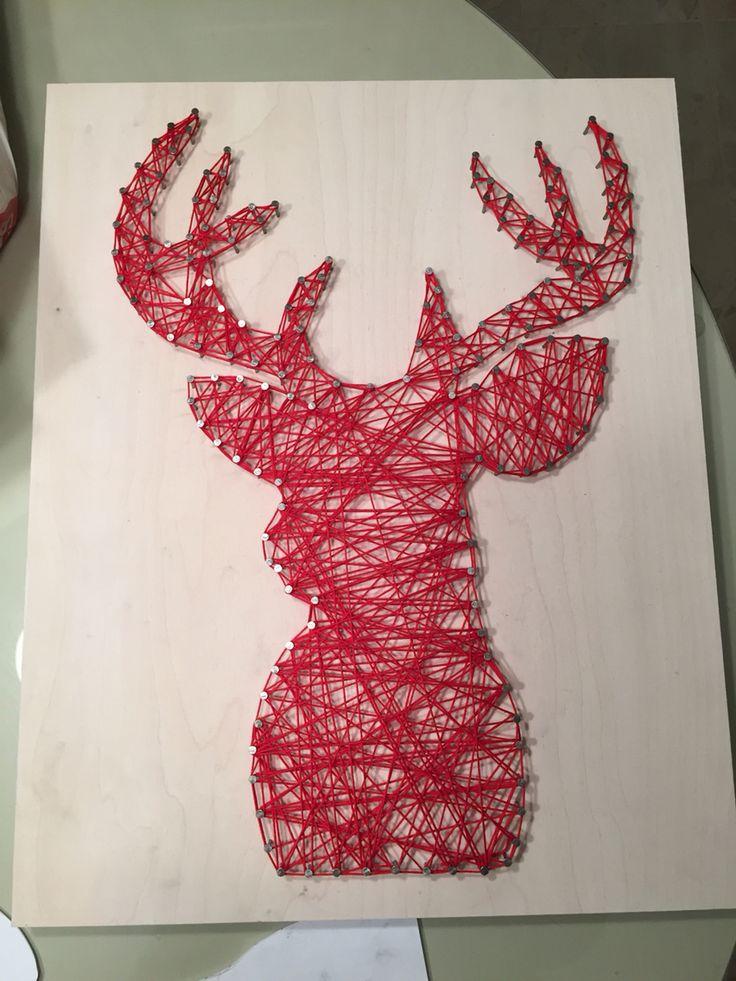 Red Deer String Art Decor
