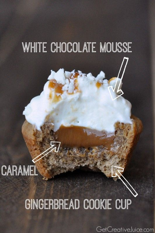 Gingerbread Cookie Cups with Caramel and White Chocolate Mousse - from Get Creative Juice