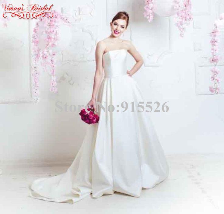 >> Click to Buy << Vintage Vestido De Novia White Satin Strapless Off The Shoulder Floor-Length Ball Gown Wedding Dress Free Shipping 2015 AZ06 #Affiliate