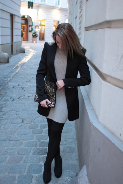 dress - Gerry Weber / blazer - Zara / clutch - Primark / shoes - Forever21 / watch - no name / rings - Thomas Sabo, LookbookStore, engagement ring / earrings - Thomas Sabo