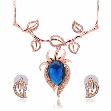 Sapphires Jewelry Set Alloy Leave Rhinestone Earrings Necklaces at Banggood