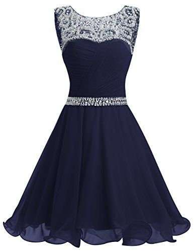 Navy Blue Short Chiffon A-Line Homecoming Dress Featuring Beaded Embellished Ruched Jewel Neck Bodice
