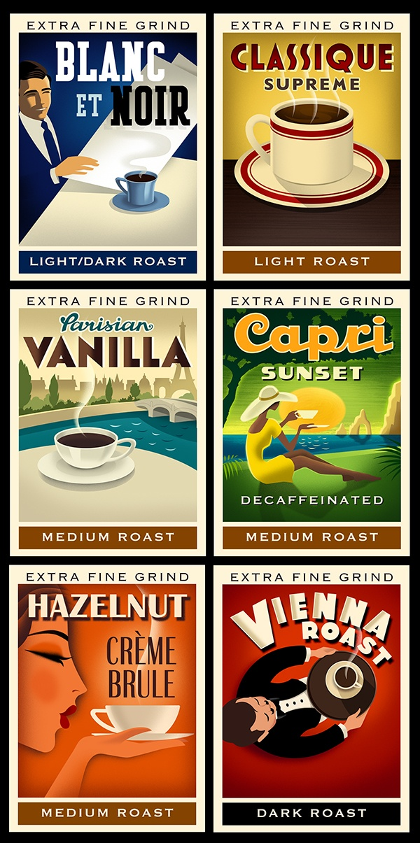 Coffee Labels for Melitta Coffee packaging.