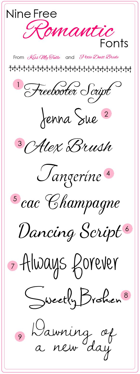 Romantic fonts | Kiss My Tulle