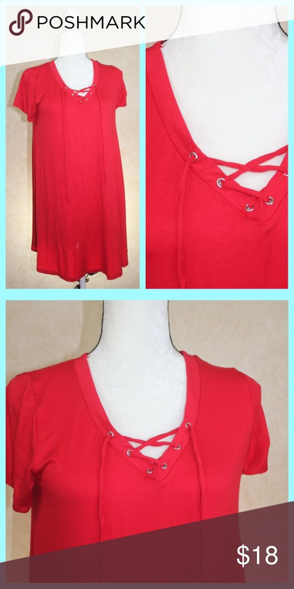 Lace Up Red Tunic Dress - So Soft! Soft, Comfy and Bright!  Lace up tunic style dress is made of the softest cotton in a beautiful shade of red. impeccable pig Dresses Mini