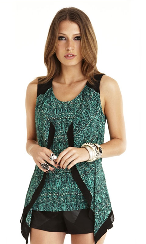 Highroad Top by WISH $99.95 #rayon #silk #forest green