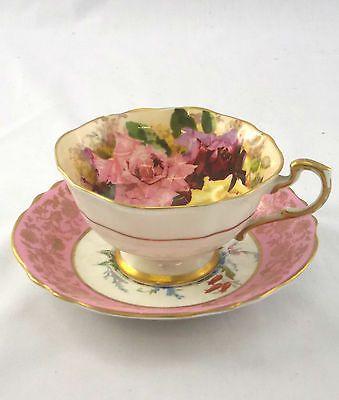 Exquisite Vintage PARAGON Fine China Pink Rose Pattern Tea Cup & Saucer - M04