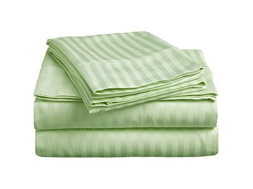 BEST BEDDING COLLECTION 100/% Egyptian Cotton 1000 Thread Count Sage Stripe