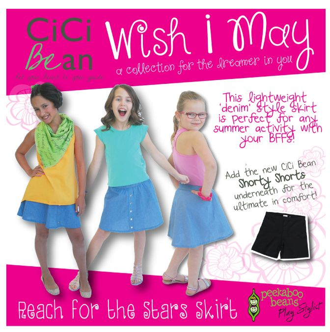 The Reach the Stars Skirt - Wish I May collection   CiCi Bean - clothing for tween girls.   Contact your local Play Stylist or shop online at www.peekaboobeans.com/Jenn