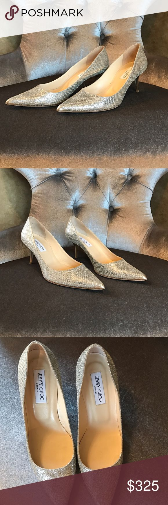 """Jimmy Choo Aurora Glitter Coated Leather Pumps Glittery lamé fabric. 2 1/2"""" metallic kitten heel. Pointed toe. Low-cut vamp. Leather insole and lining. Leather outsole. """"Aurora"""" is made in Italy. Jimmy Choo Shoes Heels"""