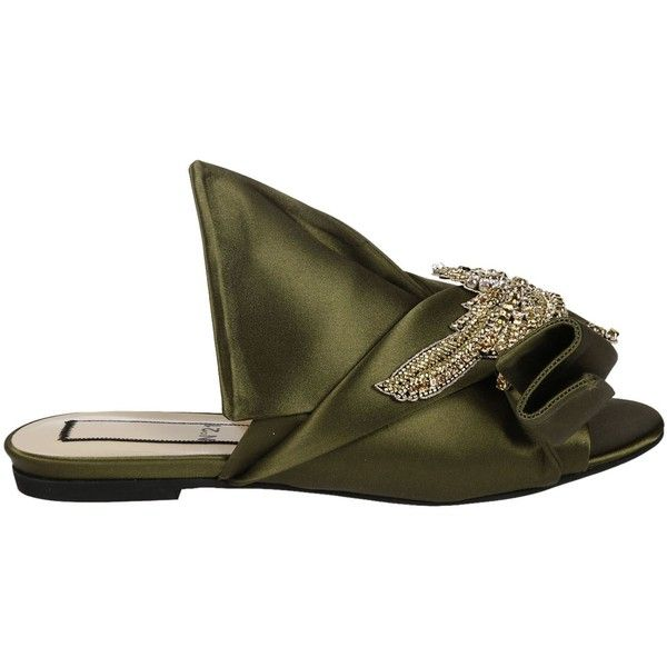 Bow Detail Flat Sandals (370 AUD) ❤ liked on Polyvore featuring shoes, sandals, green, womenshoessandals, flat sandals, peep toe flat sandals, flat shoes, peep-toe flats and embellished sandals