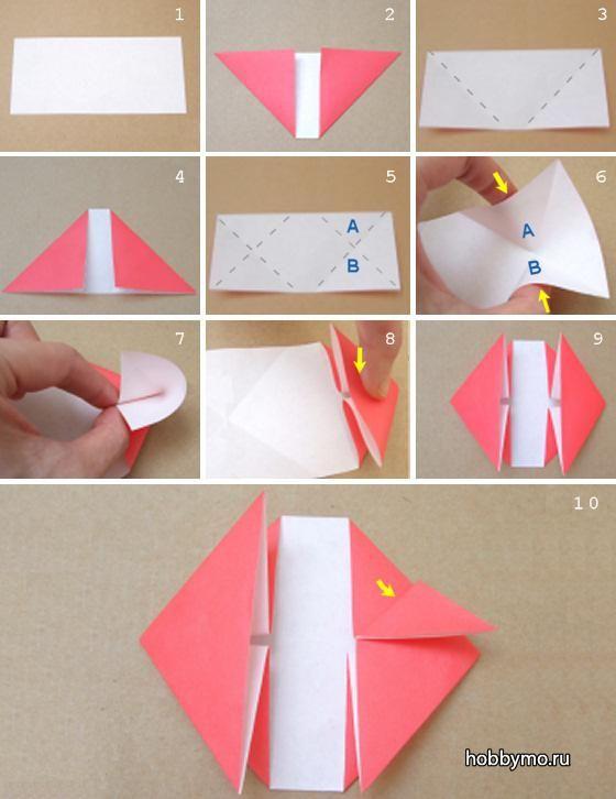 Как сделать оригами сердце с цветком, схемы