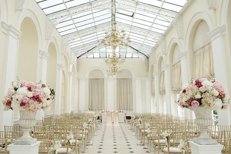 Blenheim Palace Orangery urn arrangements Joanna Carter Wedding Flowers