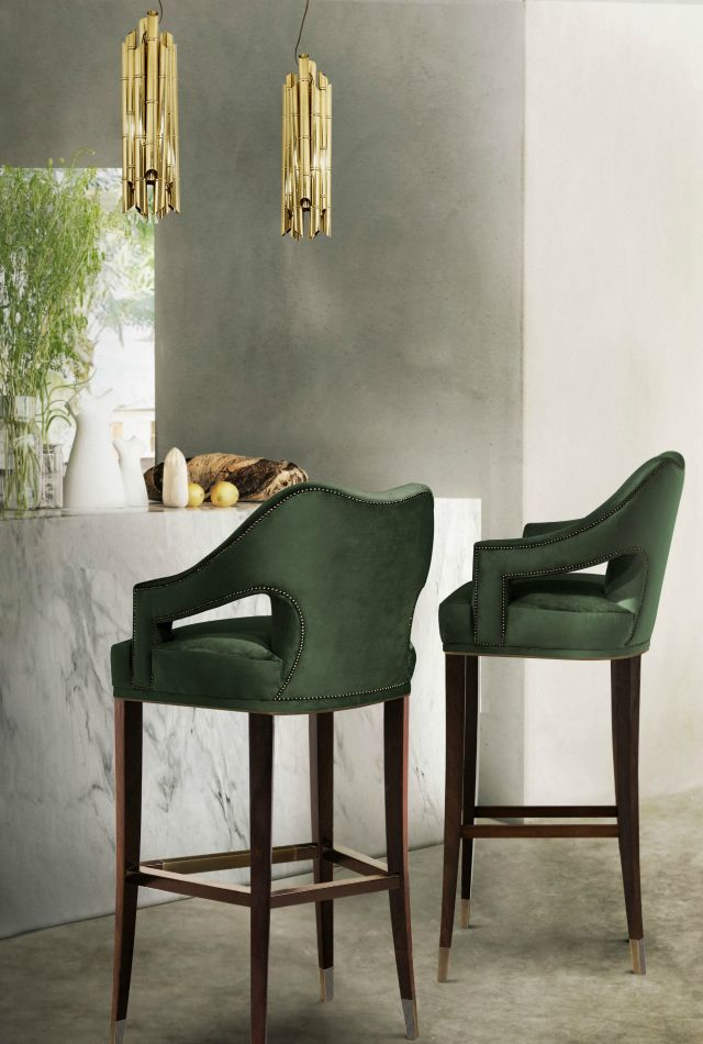 10 Sophisticated Upholstered Bar Stools That You Will Want To Have | Bar Chairs. Modern Chairs. Restaurant Interior. #restaurantinteriors #barchair #barstool Read more: https://www.brabbu.com/en/inspiration-and-ideas/world-travel/sophisticated-upholstered-bar-stools-want