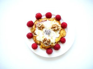Flourless lemon + ricotta pancakes...topped with natural yoghurt ...