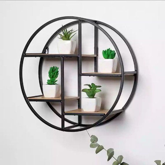 Creative Solid Wood Wall Hanging Iron Rack Round Flower Stand Home Decoration Wall Hanging Storage Wood Wall Shelf Iron Storage