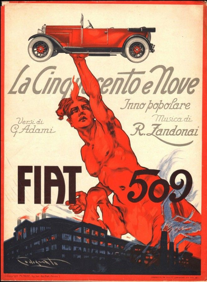 ENTRA,Vintage Fiat advertisement poster illustrated by Plinio Codognato (Verona, 1878-Milano, 1940)