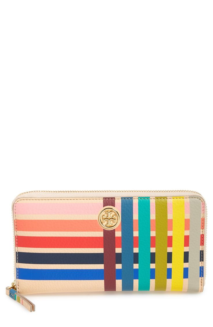Multi-hued stripes add eye-catching vintage flair to this classic zip-around wallet by Tory Burch.