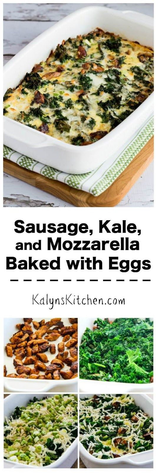 Sausage, Kale, and Mozzarella Egg Bake is a tasty low-carb dish for breakfast or brunch! You can make this on the weekend and reheat all week for a quick breakfast. [found on KalynsKitchen.com]