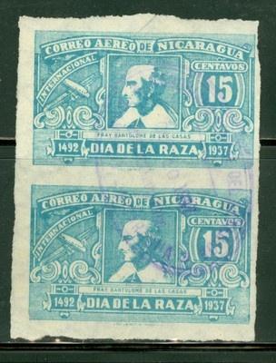 Nicaragua 1937 Issues: Scott #C220a U Columbus Day VERTICAL IMPERF PAIR