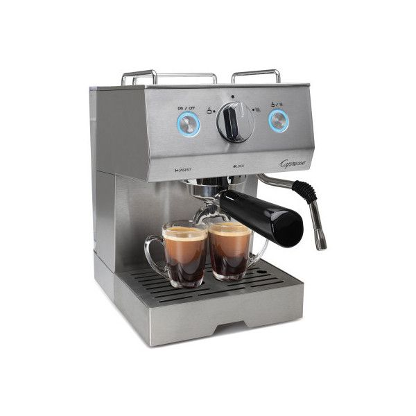 Capresso Cafe Pro Espresso Machine ($300) ❤ liked on Polyvore featuring home, kitchen & dining, small appliances, latte espresso machine, capresso cappuccino machine, capresso espresso maker, espresso machine and capresso frother