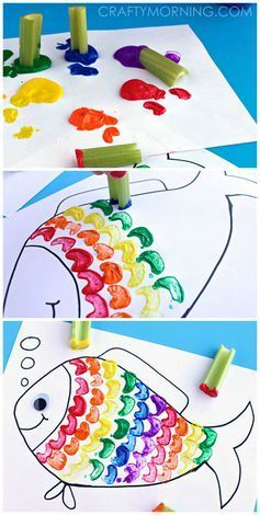"""Rainbow Fish Craft Using Celery as a Stamp - Great craft for kids!   <a href=""""http://CraftyMorning.com"""" rel=""""nofollow"""" target=""""_blank"""">CraftyMorning.com</a>"""