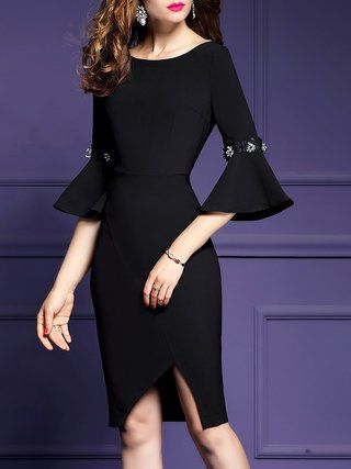67df5aa1 Bateau/boat neck Bodycon Daily Bell Sleeve Vintage Asymmetric Midi Dress