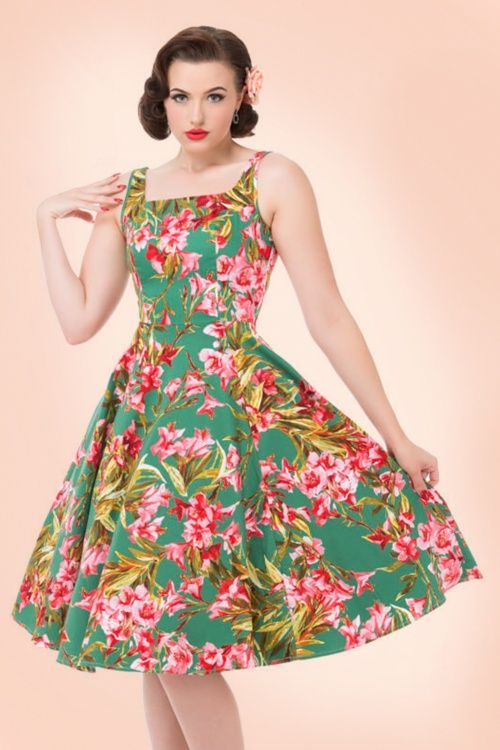 Hearts & Roses  Green Floral Swing Dress 102 49 17136 03182016 017 (2)