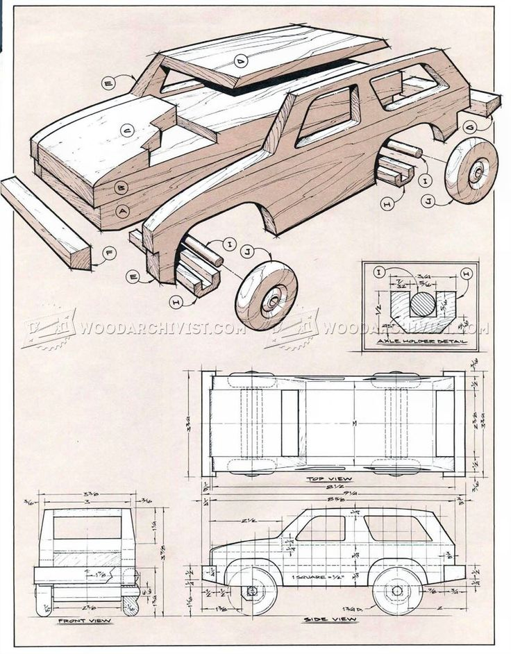 #1118 Wooden 4х4 Off Roader Plan - Children's Wooden Toy Plans and Projects
