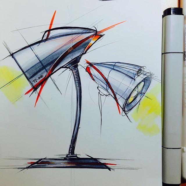저금 독특한 느낌을 받은 스케치이다. 스탠드 인것 같은데 움직임이 느껴지는 빨간색 선이 불빛같아 보이기도 한다.