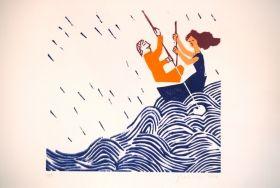 En bateau La pluie est amoureuse du ruisseau Gravure sur bois