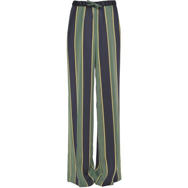 Dries Van Noten Striped Satin Trousers (2041925 PYG) ❤ liked on Polyvore featuring pants, striped wide leg trousers, draw string pants, satin trousers, drawstring trousers and low rise wide leg pants