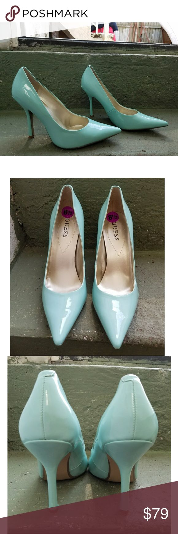 """GUESS Mint/Light Green Coral Heels Shoes Sz 8 1/2M These GUESS heels are in excellent used condition. Light green colored. Heel: High (3 in. and Up). Size: 8 1/2M. Brand: Guess. Super sexy! """"PRICE FIRM"""" Guess Shoes Heels"""
