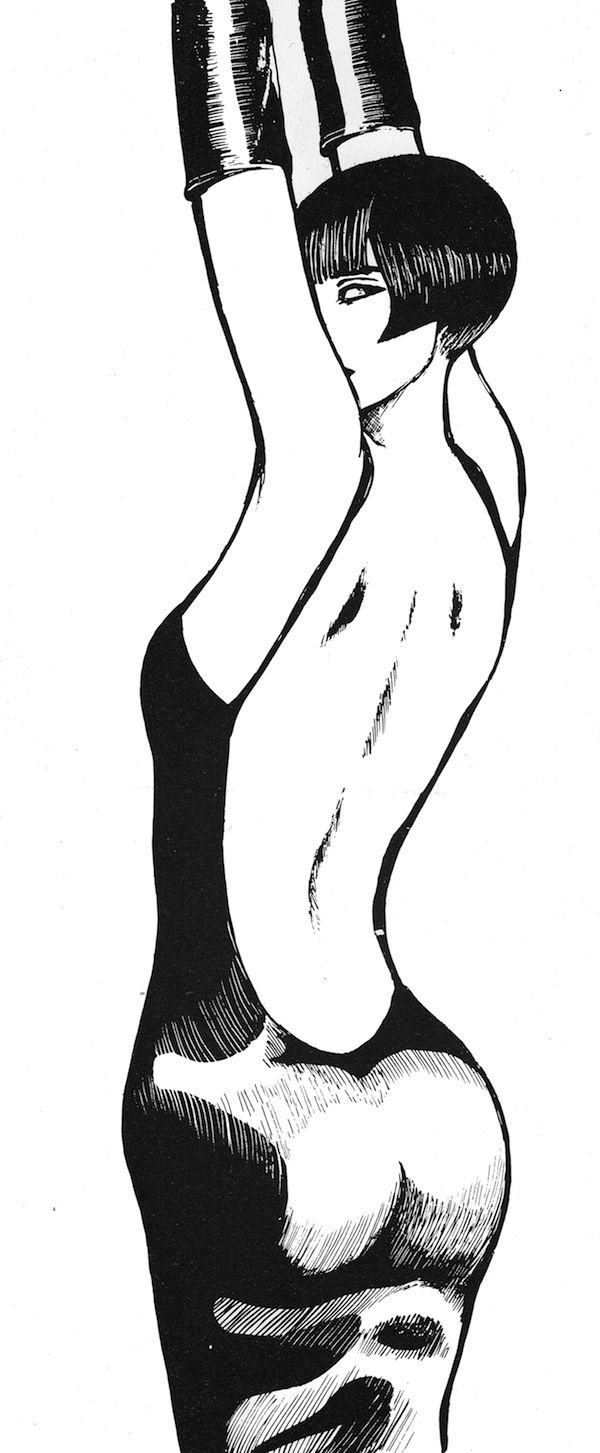 Valentina wearing an evening dress.   Guido Crepax created his famous character in the last century 60' inspired by the look of the famous 30' actress Louise Brooks.