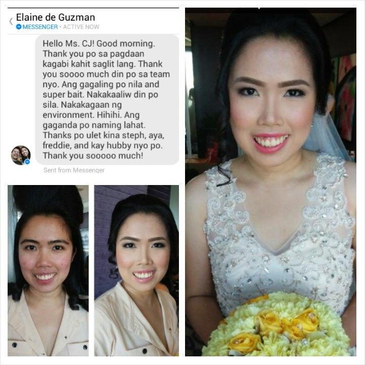 "Another happy client from yesterday. Make up by the amazingly talented Steph Ching and hairstyle by Aya. Congrats and thank you again Elaine and Paulo. ;)  ""Hello Ms. CJ! Good morning. Thank you po sa pagdaan kagabi kahit saglit lang. Thank you soooo much din po sa team nyo. Ang gagaling po nila and super bait. Nakakaaliw din po sila. Nakakagaan ng environment. Hihihi. Ang gaganda po naming lahat. Thanks po ulet kina steph, aya, freddie, and kay hubby nyo po. Thank you sooooo much!""  CJ…"