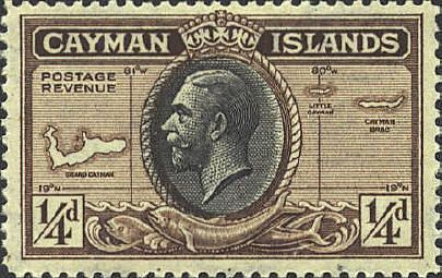 Cayman Islands. These three islands in the southern Caribbean are one of 14 British Overseas Territories still under the sovereignty of Britain. This stamp shows maps of the three inhabited islands plus a profile of King George V.