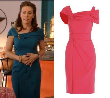 Mistresses episode 4: Savi's (Alyssa Milano) turquoise Zac Posen Asymmetric Silk-Crepe Dress #getthelook #mistresses