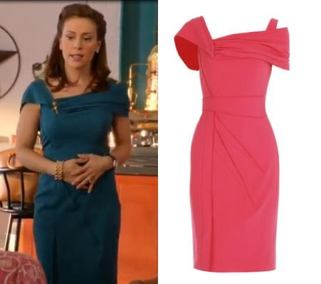 Mistresses episode 4: Savi's (Alyssa Milano) turquoise Zac Posen Asymmetric Silk-Crepe Dress #getthelook #mistresses