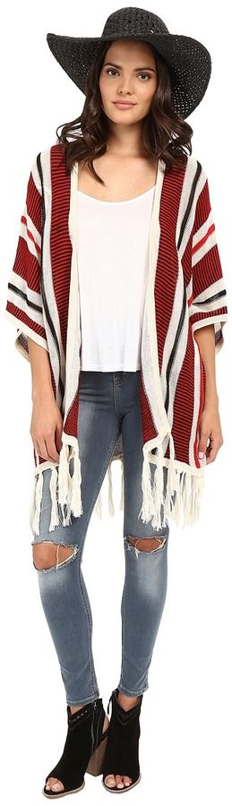BB Dakota Dobrin Acrylic Beach Stripe Fringe Cardigan